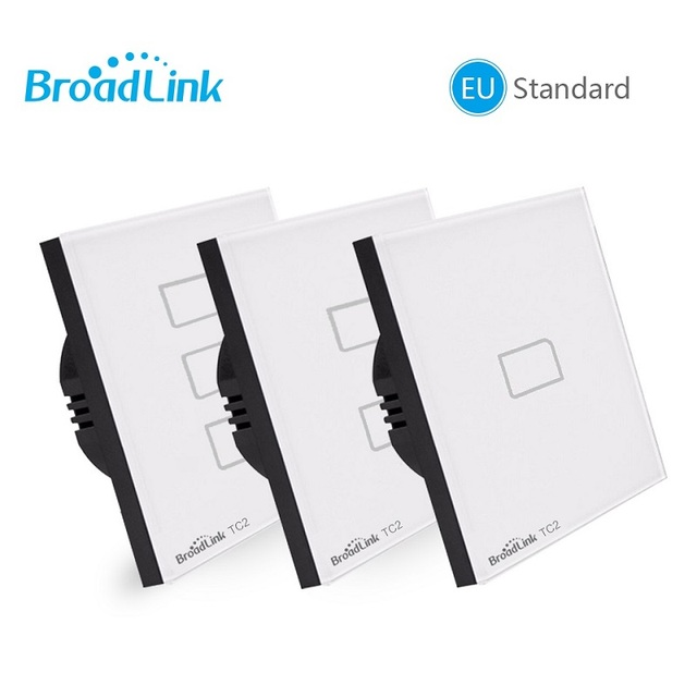 Broadlink TC2 האיחוד האירופי סטנדרטי 1 2 3 כנופיית אופציונלי, נייד מרחוק אור מנורת קיר מתג באמצעות broadlink rmpro, גביש זכוכית, domotica