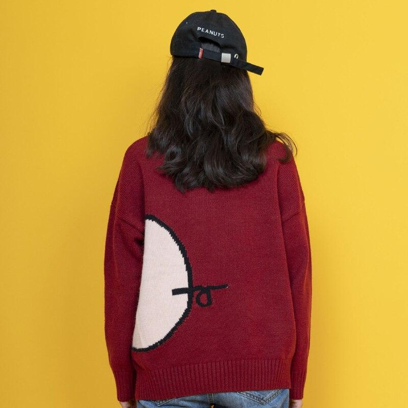 Vintage À O Manches Jumper Printemps Pulls Nouvelles De Femmes Style Pull Bande Japon Porc Automne Rouge Longues Dessinée Dames Jolie Tops Cou Tricots RwF7FxH