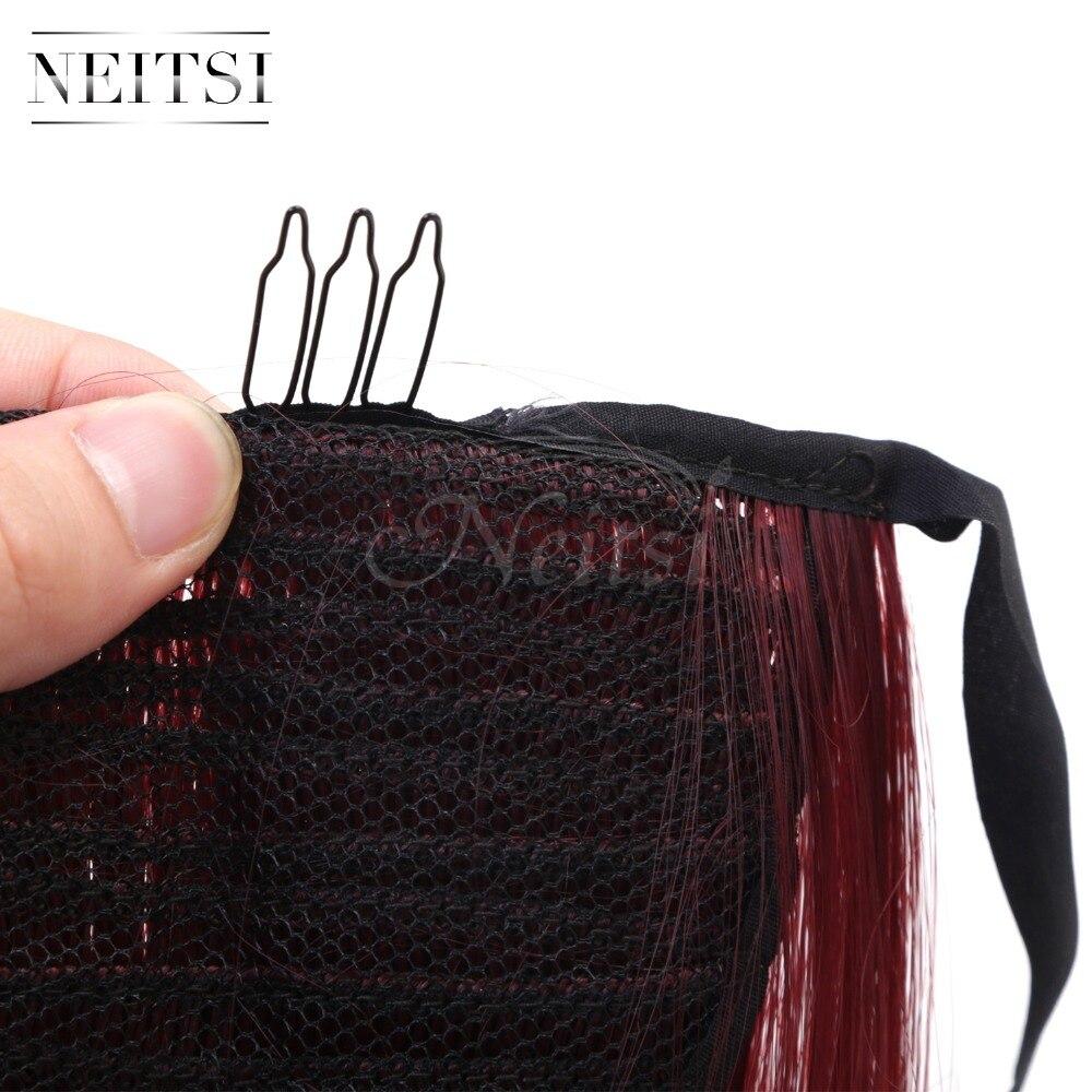 Купить с кэшбэком Neitsi Straight Long Clip In Hair Tail False Hair Ponytail Hairpiece With Hairpins Synthetic Hair 99J#