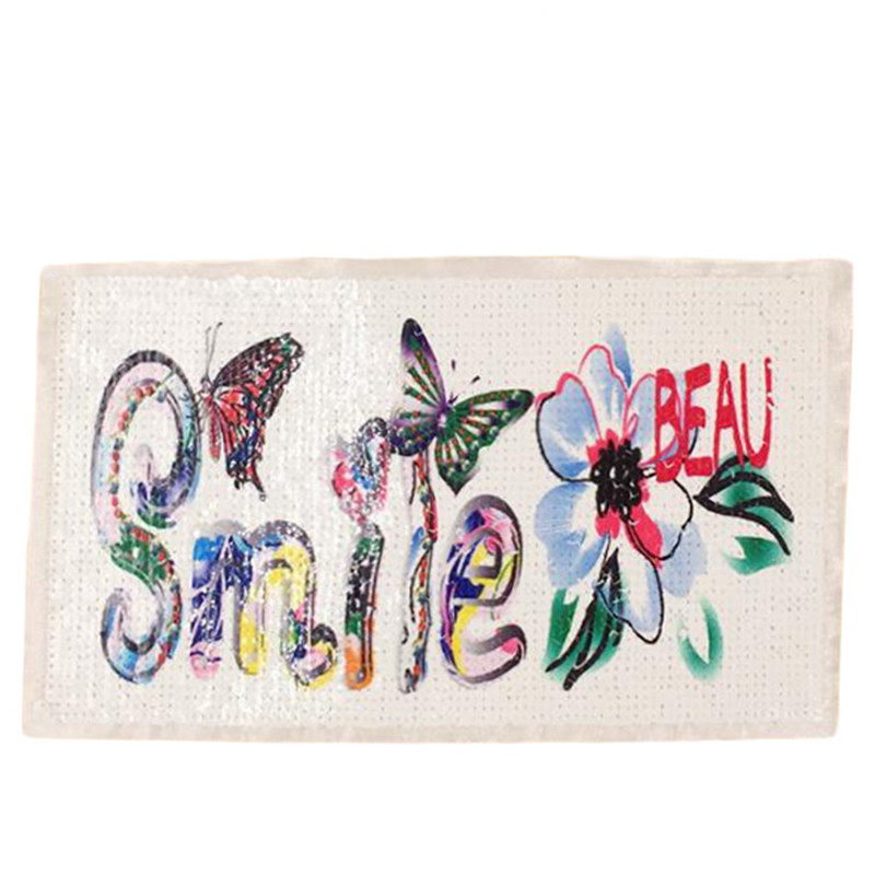 25cm butterfly smile patch deal with it clothes iron on patches for clothing t shirt sequins stickers halloween christmas gifts