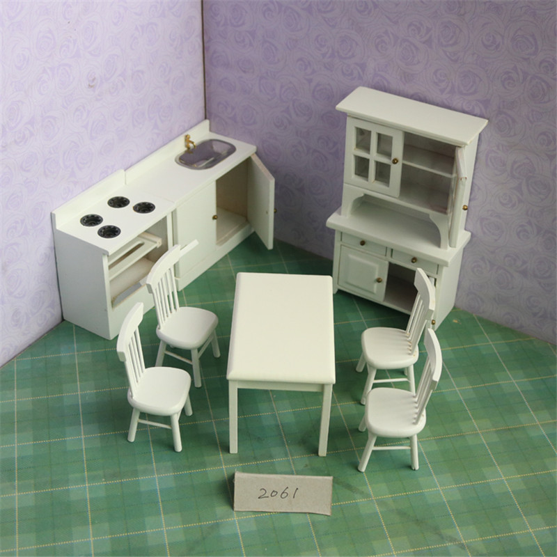 1:12 dollhouse miniature white Cabinets furniture toys pretend play toy chair table kitchen sets for girls children kids dolls