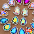 13x18mm 10pcs All AB Colors Teardrop Droplet D Claw Sew On Rhinestones Flatback Glass Sew-On Rhinestone Buttons For DIY B0713