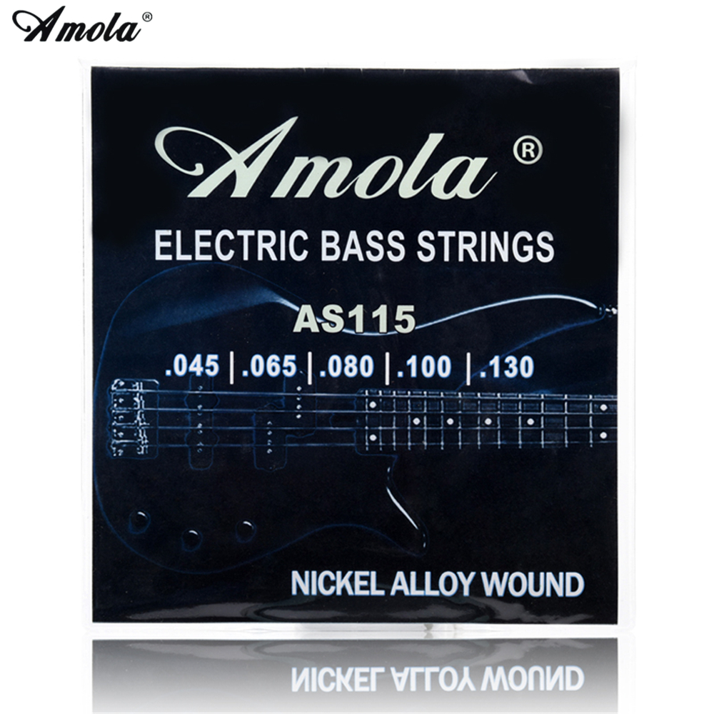 Amola Electric Bass Guitar Strings AS115 045-130 Nickel Alloy Wound  Electric Bass 5 Strings 1Set 4pcs 990l electric bass guitar string 045 090 strings for electric bass with colored box