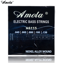 где купить Amola AS115 Bass Guitar 5 strings 045-130 bass string Electric bass strings Medium +5pcs guitar picks дешево