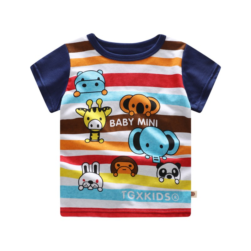 Baby Boy Girl T-Shirt 2018 Summer Toddler Short Sleeve T-Shirt Cute Cartoon Casual Blouse Comfortable Dressing Different Places ...