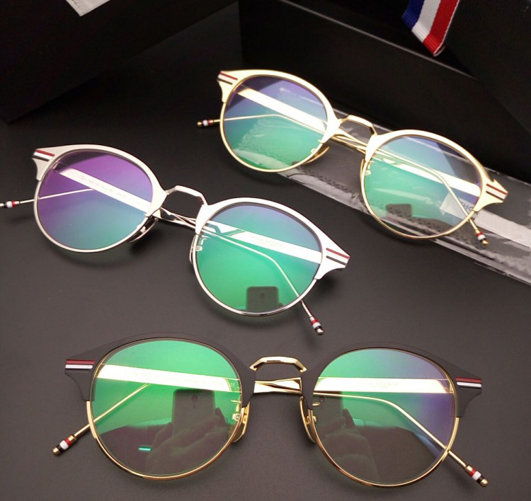 2017 New Designer Woman Glasses Optical Frames Metal Round TB105 Glasses Frame Clear lens Eyeware Black Silver Gold Eye Glass