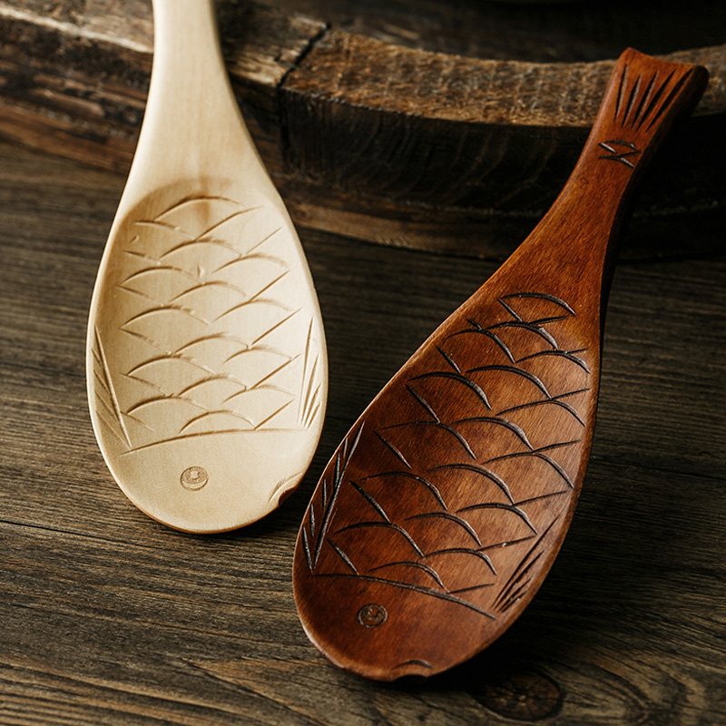 1pcs Wood Fish Shaped Rice Spoon Non Stick Rice Paddle Wooden Spoon Cute Fish Rice Spoon Scoop Potato Meal Server Cooking Tools in Spoons from Home Garden