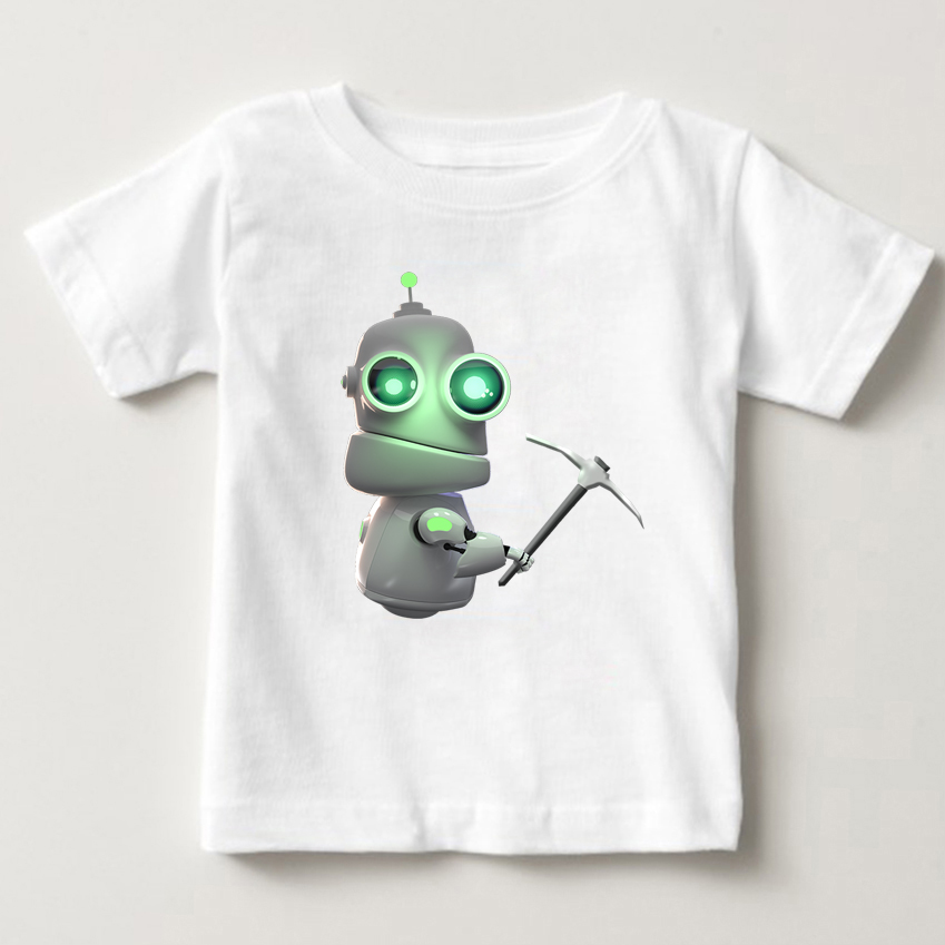 Fashion Cartoon Boys Girls T Shirts Kids White Cotton T shirts Child Summer Robot Print Tops Clothing shrt Comic robot tshirt MJ in T Shirts from Mother Kids