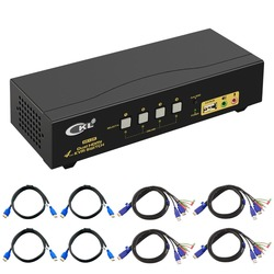 HDMI Switch kvm 4 Porte Dual Monitor (Exetended Display), CKL HDMI KVM SWITCH Splitter 4 in 2 Out con Microfono Audio di Uscita