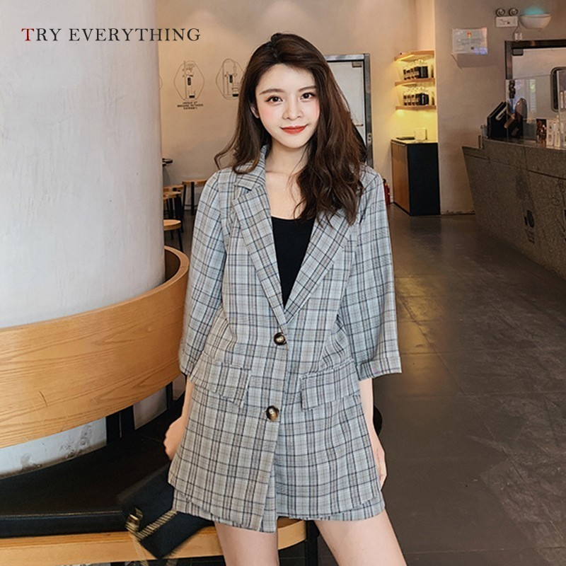 Plaid Blazer Women Suit Jacket Grey Casual Ladies Long Femle Woman 2019 Antumn Blazers