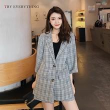 Plaid Blazer Women Suit Jacket Grey Casual Ladies Long Femle Woman 2019 Antumn Blazers