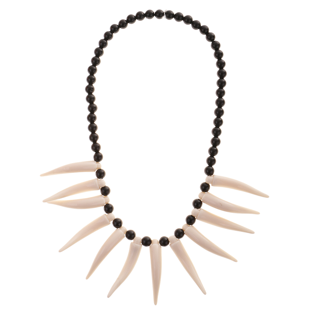 Novelty Artificial Tusk Horn Beads Tribal Tooth Necklace Party Fancy Dress Novelty Gag Gift Costume Accessories