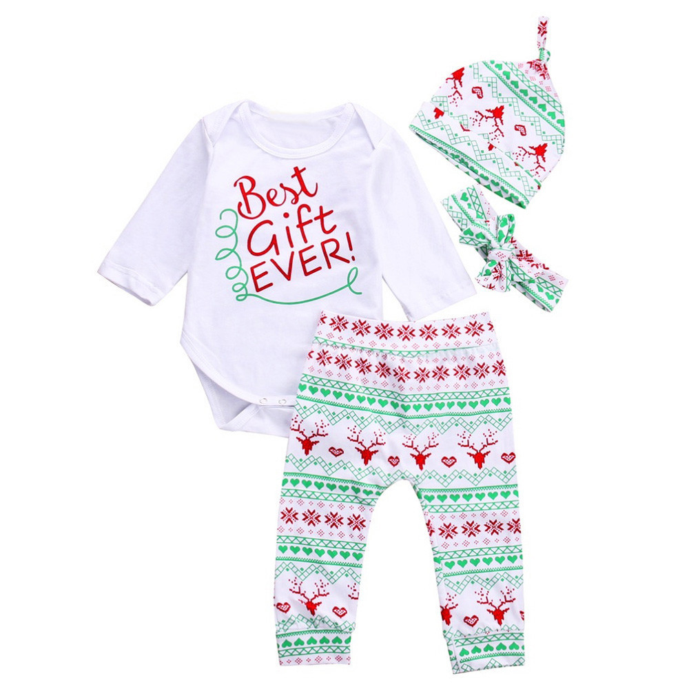 4PCS Baby Boy Girl Christmas Gift Outfits Romper Deer Pants Legging Clothes Set OCT