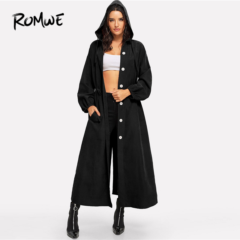 ROMWE Waist Drawstring Button Split Back Coat 2019 Women Pockets Spring Autumn Long Sleeve Outer Single Breasted   Trench   Coat
