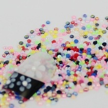 Top Grade 1.5mm Glue on Craft colorful Beads nail Art Half Round Pearls Flat back Resin Plating AB pearls for decoration