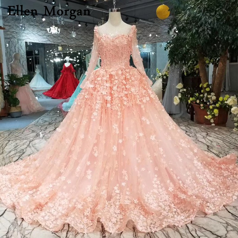 Coral Wedding Gowns: Colorful Coral Ball Gowns Wedding Dresses 2019 Flowers