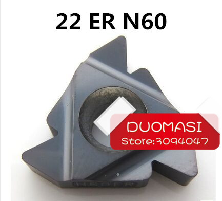 Free Shipping 22ER N 60 Carbide Threading Inserts 60 Deg External Threading Tips Indexable Inserts for