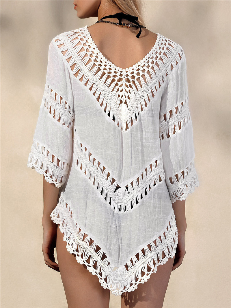 c77139d6ab716 Women Beach Cover Ups Hollow out Crochet Beach Robes Tunic Bathing suit  Pareo de Plage Beach Sarong Wrap-in Cover-Ups from Sports & Entertainment  on ...