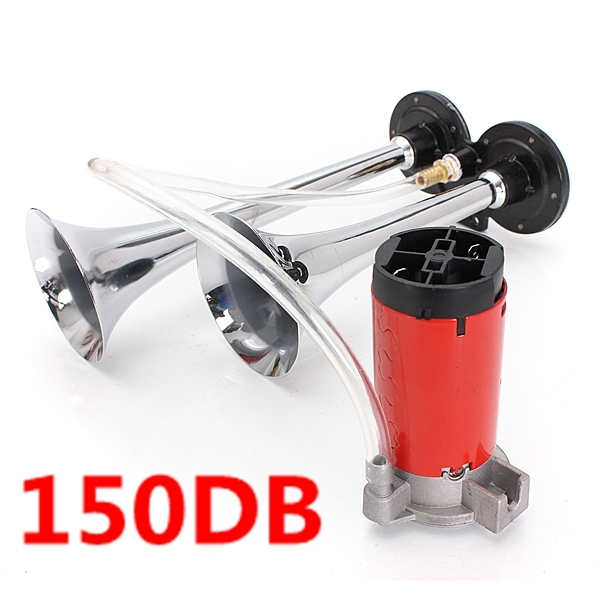 150DB 12 V Air Horn Trompeta Dual Super Ruidoso Compresor Barco Camión Coche