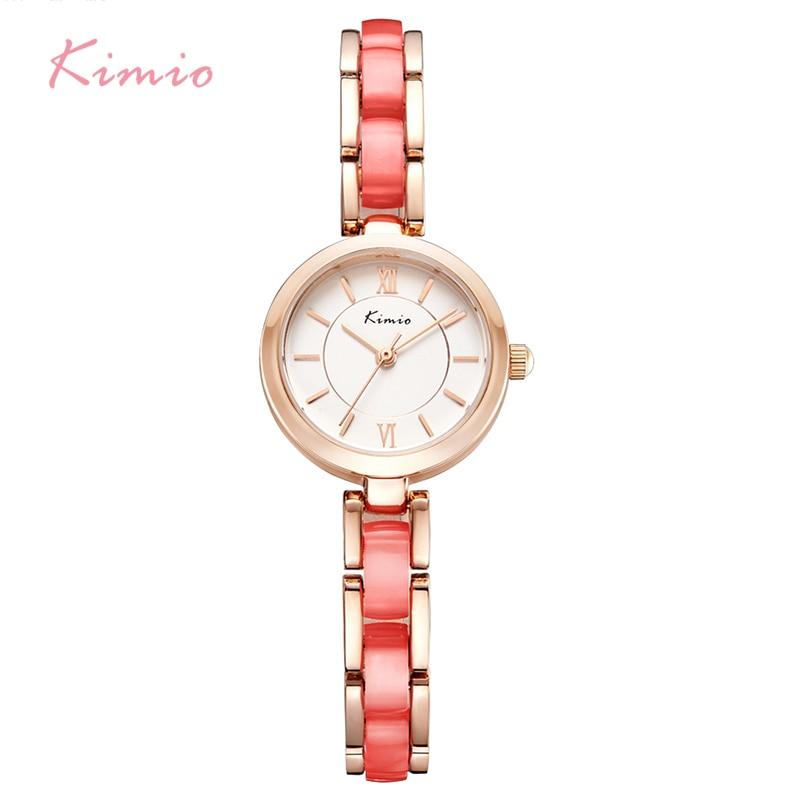 KIMIO марка имитация на керамика жени гледам прости дами гривна часовници висок quarty тънък набиране рокля часовник relogio feminino