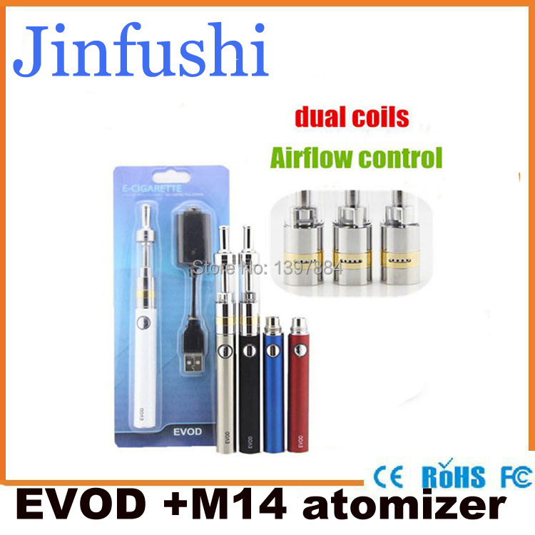 100pcs/lot Europ DHL free shipping Evod M14 kit airflow control electronic cigarette starter kit with 1100mah evod battery