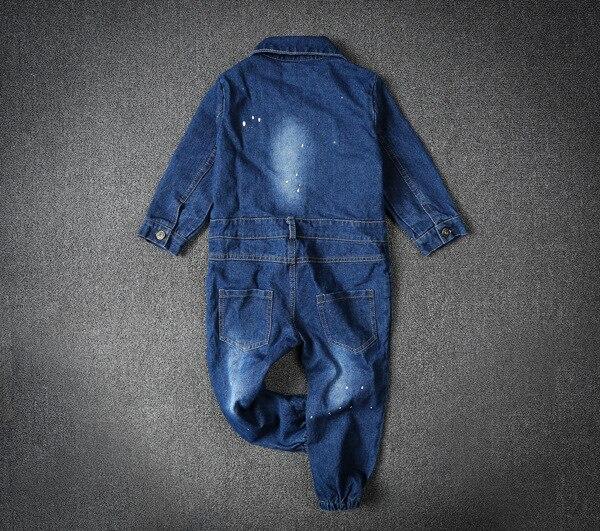 Image 3 - Children Boys Overalls Baby Girls Denim Jeans Bodysuit Kids Childrens Clothing Toddler Girl Navy Blue Spring Autumn PantsOveralls   -