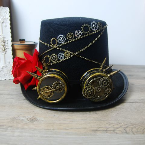 c6ac2b81400 New Costume Coplay Mens Hat Steampunk Victorian Rose Top Hats With Goggles  Vintage Retro Handmade Headdress