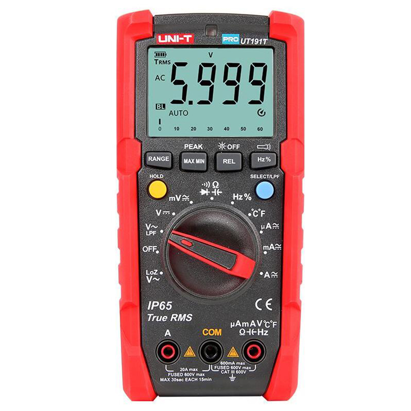 UNI T UT191E UT191T multímetro profesional True RMS IP65 impermeable/a prueba de polvo multímetro digital, temperatura/voltaje LoZ - 2