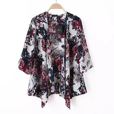Women Floral Loose Kimono Boho Chiffon Cardigan Coat Jacket Top Blouse 6-14