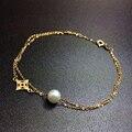 Ainuoshi 18 k oro amarillo natural cultivadas de agua dulce de la perla pulsera de cadena mujeres brace encaje pe longitud 16.5 cm tamaño de la perla 6-6.5mm