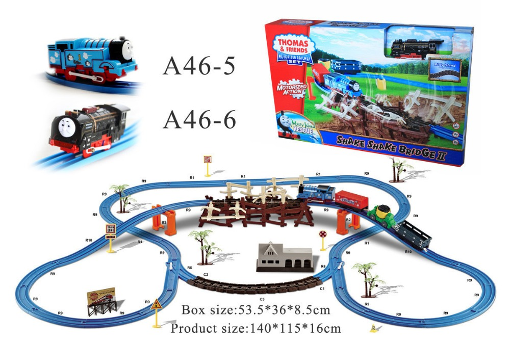 On Stock Hot Thomas bridge electric rail car DIY car assembling plastic toys for children's New Year & Christmas gift kids toys on stock new super thomas small train electric track car boy puzzle large car racing for children s christmas gift kids toys