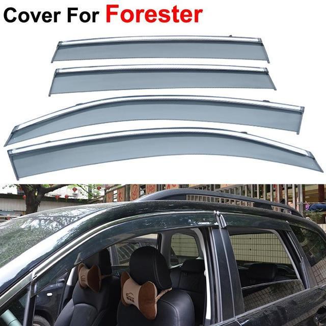4pcs/lot Awning Shelters Vent Rain Sun Shield Window Visor For Subaru Forester 2013 2014 2015 2016 Car Styling Guard Smoke