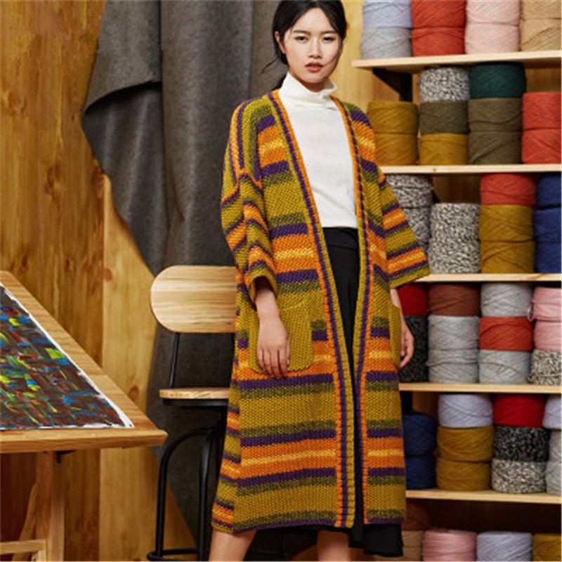 100% Hand Made Pure Wool Vneck Knit Women Fashion Contrast Color Striped Solid Loose Long Cardigan Sweater One&over Size