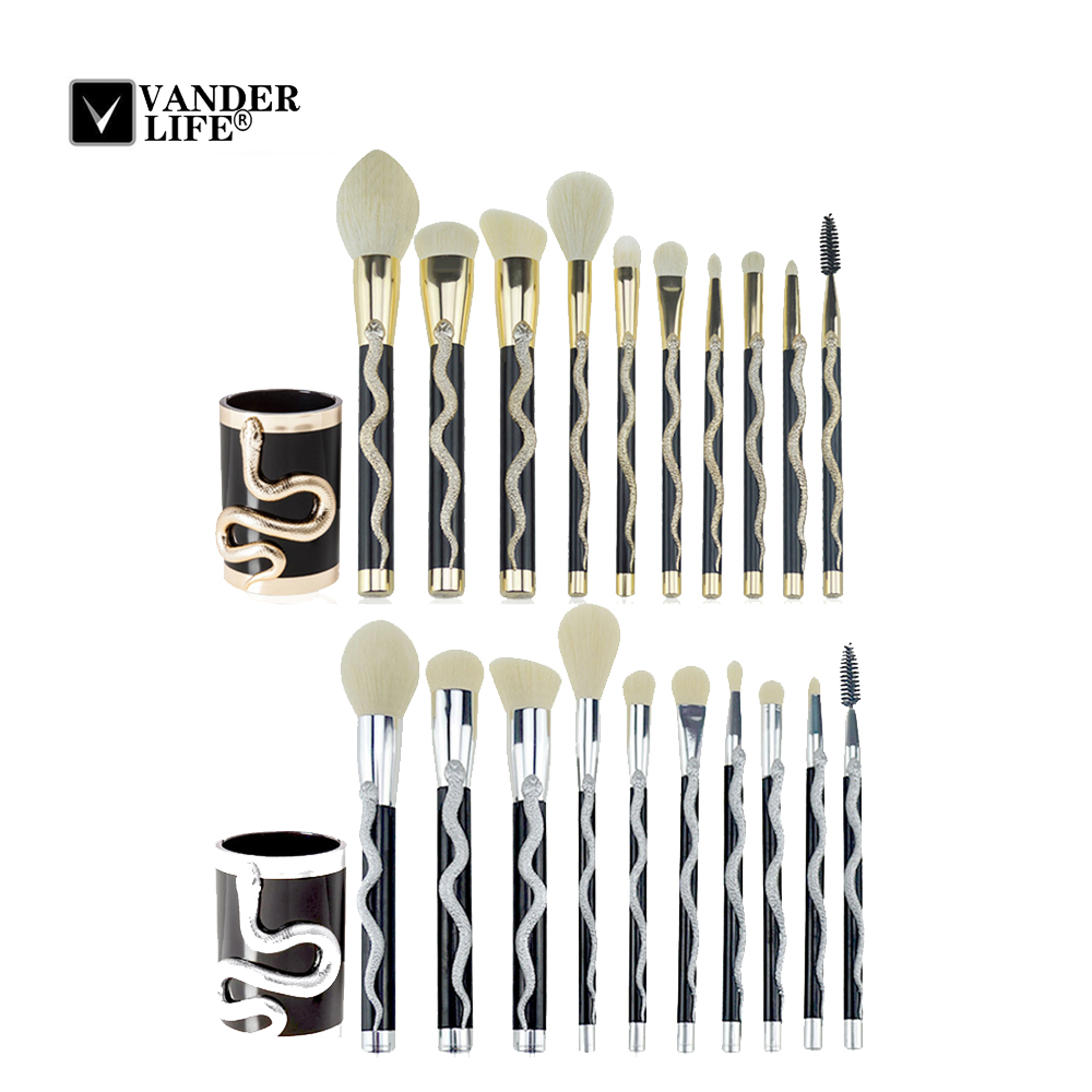 10 Pcs Face Makeup Brush Set Powder Blush Foundation Eye Shadow Brush Soft Hair Cosmetic Brushes + Makeup Brush Bucket 1pc new retractable makeup brushes professional face powder blush brush cosmetic brush tools portable soft makeup blusher brush