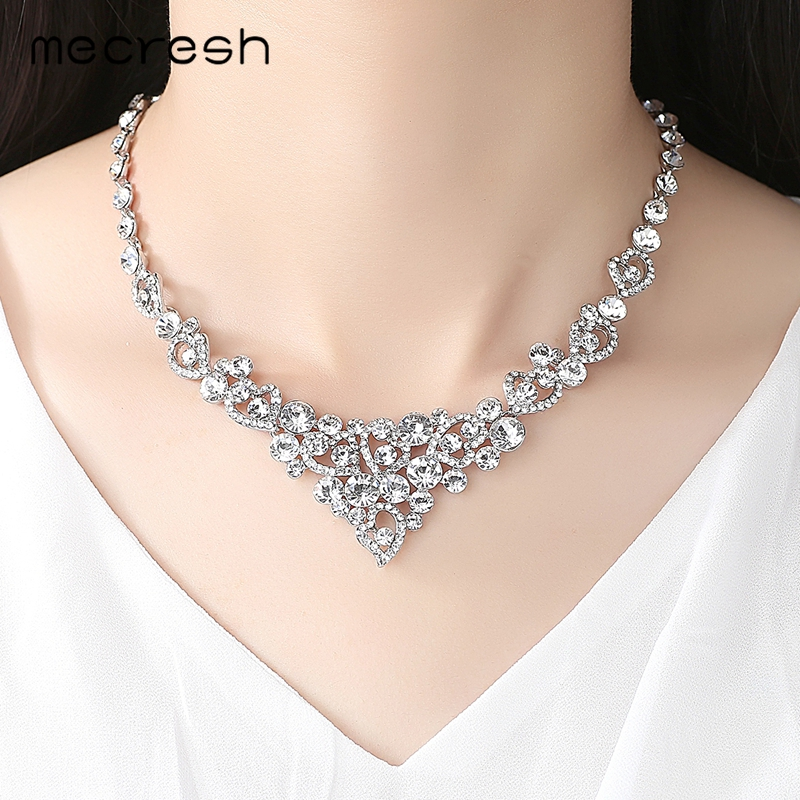 Mecresh Crystal Bridal Jewelry Sets Heart Shape Wedding Necklace Earrings African Beads Jewelry Sets Accessories TL310+SL285 1