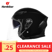 HEROBIKER Motorcycle Helmet Motorbike Motocross Half Face Crash Helmet Double Lenses Moto Helmet For Motorcycle Clearance Sale