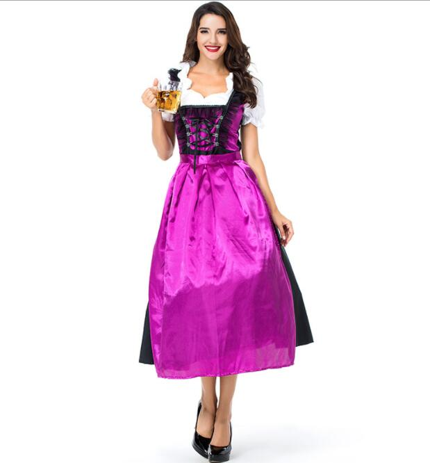 sexy Germany Bavaria Oktoberfest beer festival work clothes Costume Halloween Carnival Party Cosplay Fancy long dress A035