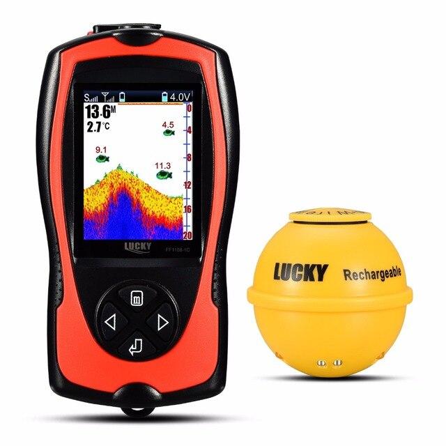 ラッキーFF1108 1CWLA充電式ワイヤレスソナー釣り45メートルの水深エコーサウンダ釣りファインダーポータブル魚群探知機