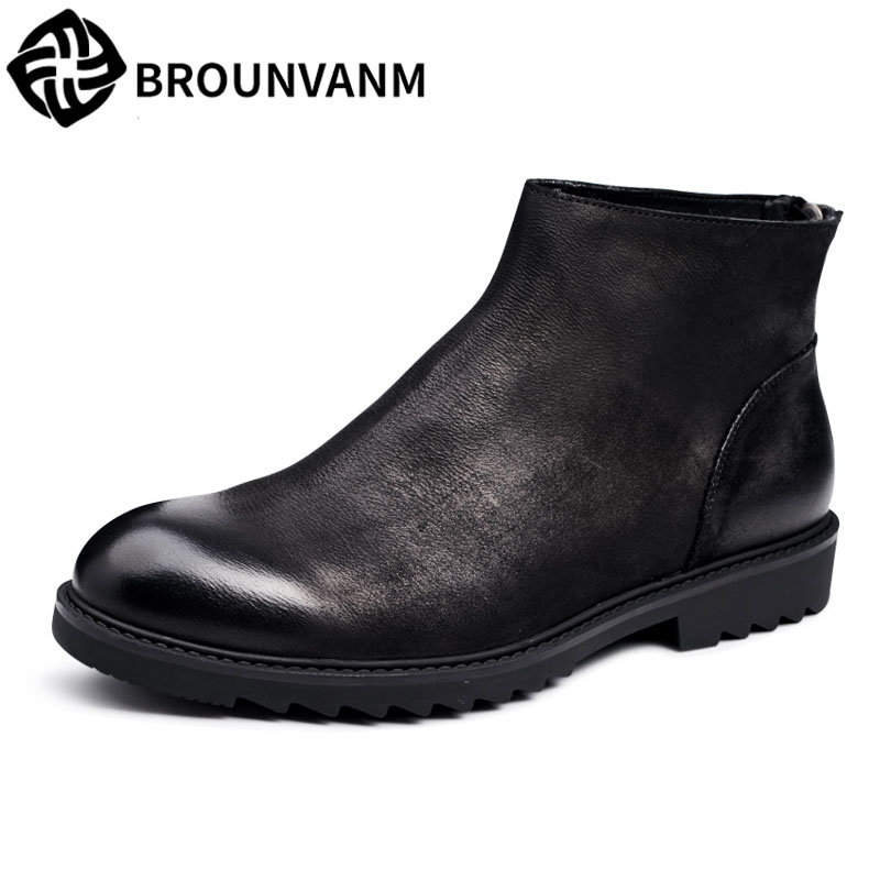 Winter 2018 British high boots leather shoes retro men casual boots zipper head in to pull the cart foot shoes men serene handmade winter warm socks boots fashion british style leather retro tooling ankle men shoes size38 44 snow male footwear