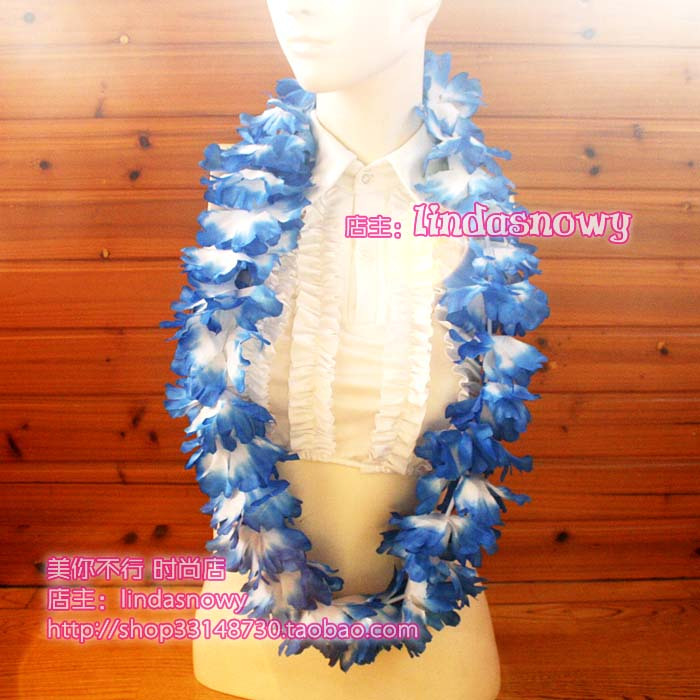 Deluxe hawaii hula skirt props hair accessory garishness neck ring blue