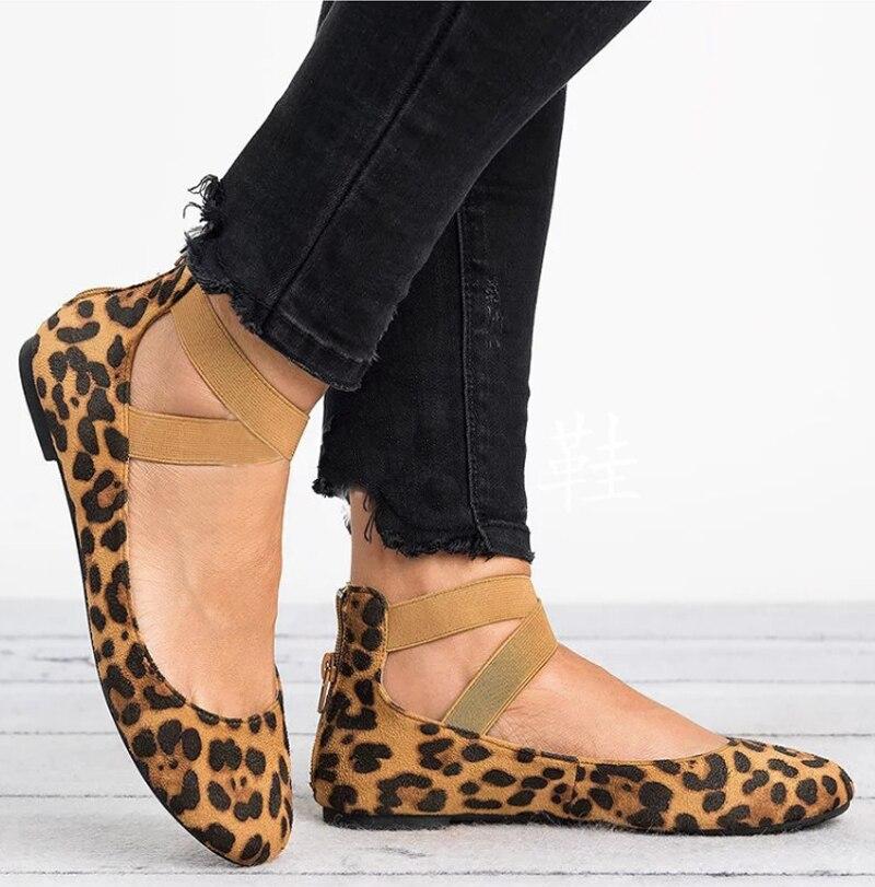 VTOTA Wohnungen Leopard Schuhe Damen Flache Schuhe Ballett Schuhe Bequem Lässig Flach Kleid Schuhe Plus Größe 43 Schwarz Chausure J50