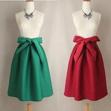 89ae13ea4de9 Women Sweet Retro Solid Bowknot Black Wine Red Green Blue Long Midi A-line Skirt  High Waist Flared Skirts Tutu Saias Femininas