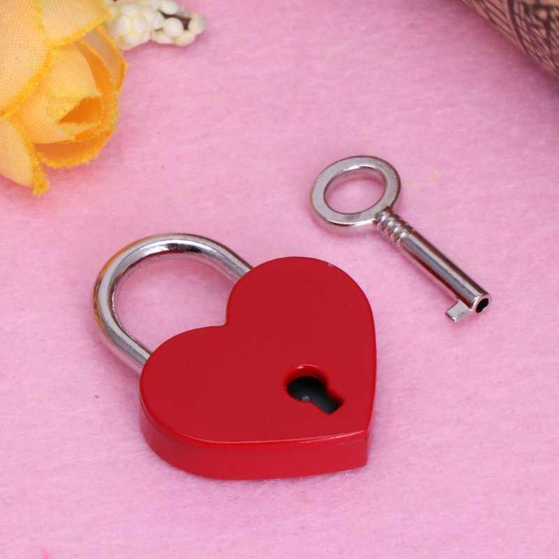 7 Colors Mini Love Heart Shape Lock Luggage Bag Case Gym Locker Padlock With Keys Padlock For Handbag Tiny Craft Diary Box Locks