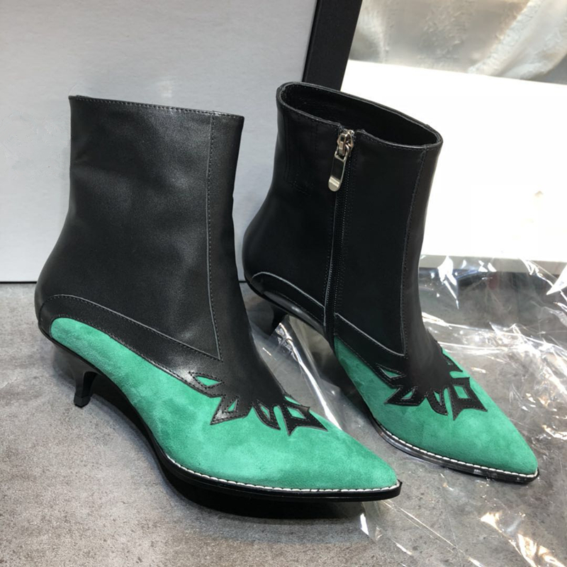 Fashion Patchwork Suede Leather Women Ankle Boots Sexy Little Thin High Heels Pumps Motocycle booties Women Boots Shoes Woman 40 fashion short booties suede soft leather patchwork belt buckle side zip spike high heels ankle boots royston boots women shoes
