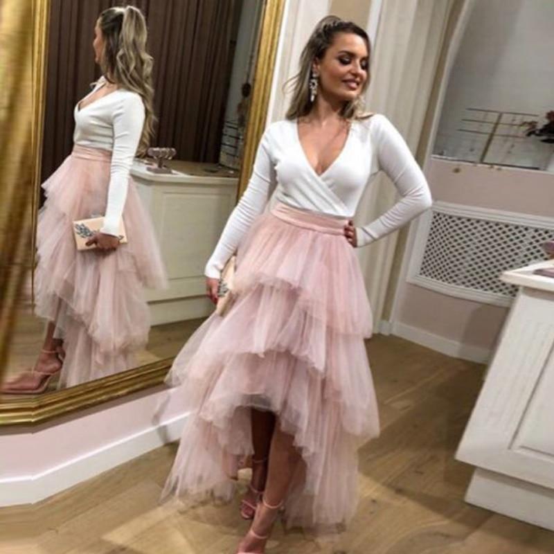 Dusty Pink Tiered Tulle Skirt High Low Zipper Waist Floor Length Prom Skirt Elegant Women Long Skirt Evening Party Gowns Custom
