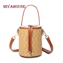 Miyahouse Straw Material Shoulder Bag For Women High Quality Crossbody Bag With Drawstring For Female Solid Color Messenger Bag