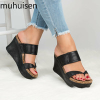 2019 новые сандалии на платформе женские женская обувь на платформе Летние Trifle открытый носок высокие черные сандалии, Тапочки Размер 35-43