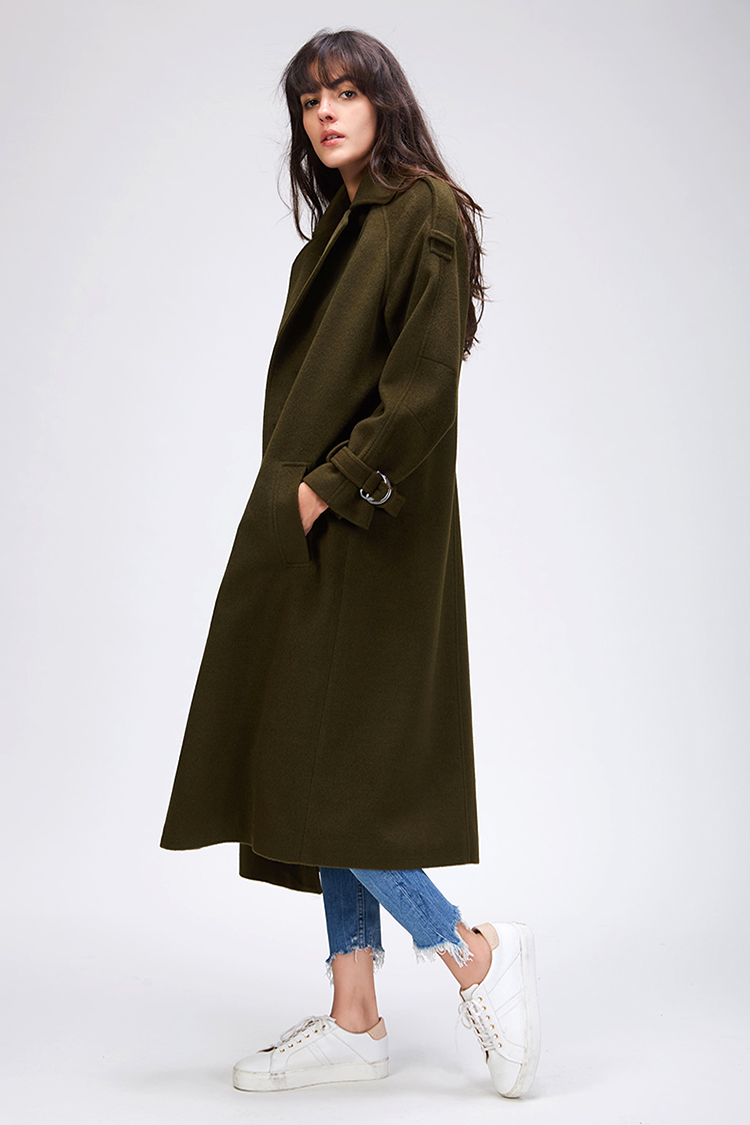 JAZZEVAR 19 Autumn winter New Women's Casual wool blend trench coat oversize Double Breasted X-Long coat with belt 860504 12
