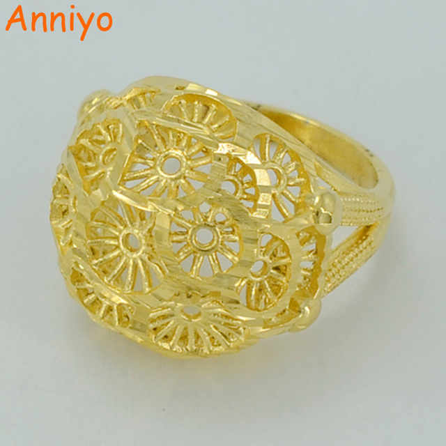 Anniyo Women Ring Gold Color and Brass Ethiopian Bride Wedding Ring Africa Jewelry/Arab Ring/Nigeria/Middle East #015602