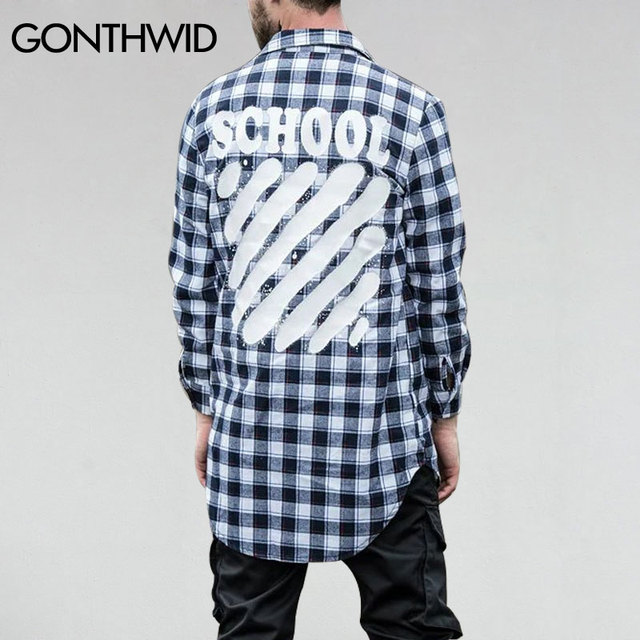 GONTHWID Plaid Striped Printed Long Sleeve Extended Shirts Mens Curved Hem  Elongated Shirt Coats Hip Hop Cotton Shirts 5 Colors 33ec60f59